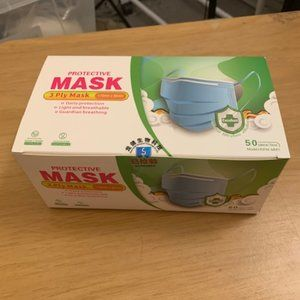 50 Count 3 Ply Disposable Masks New Sealed Box